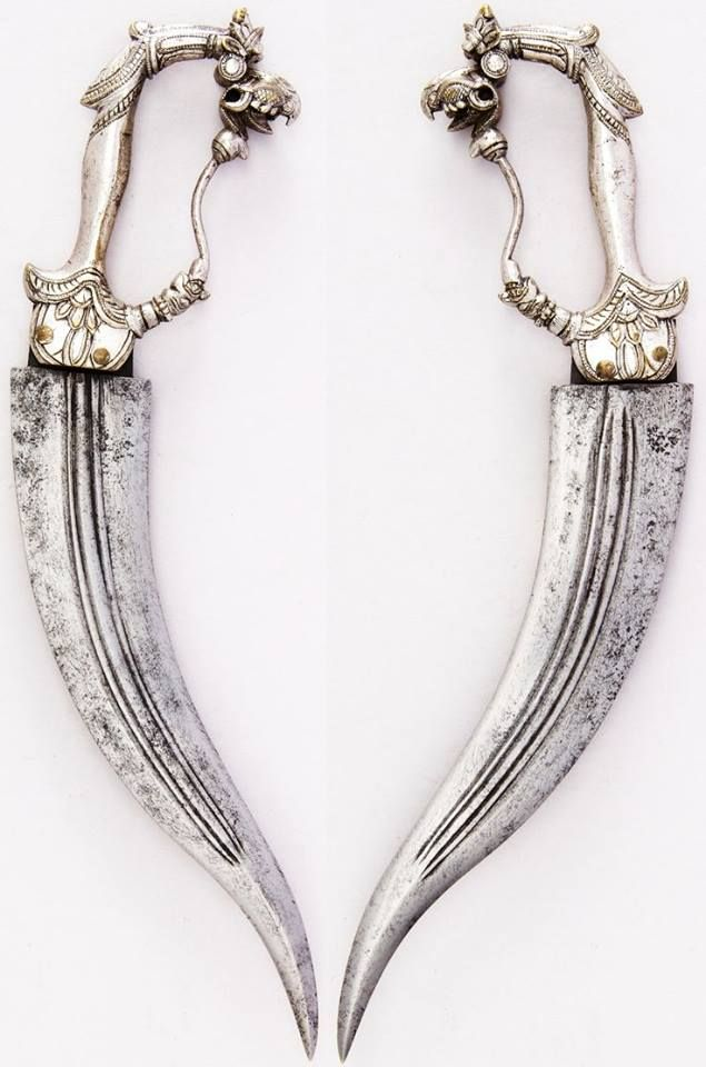 Indian (Mahratta) Chilanum Dagger, 17th century Steel, brass, silver, silk