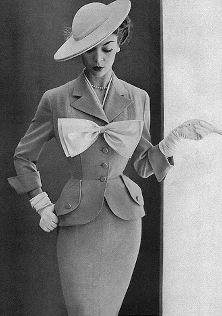1950's Fashion, Jean Patchett, in Rafi, Hat by Mr. John, Harper's Bazaar, February 1952