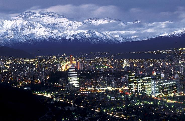 Santiago lit #santiago #chile #building #worldplaces #travel #mountains