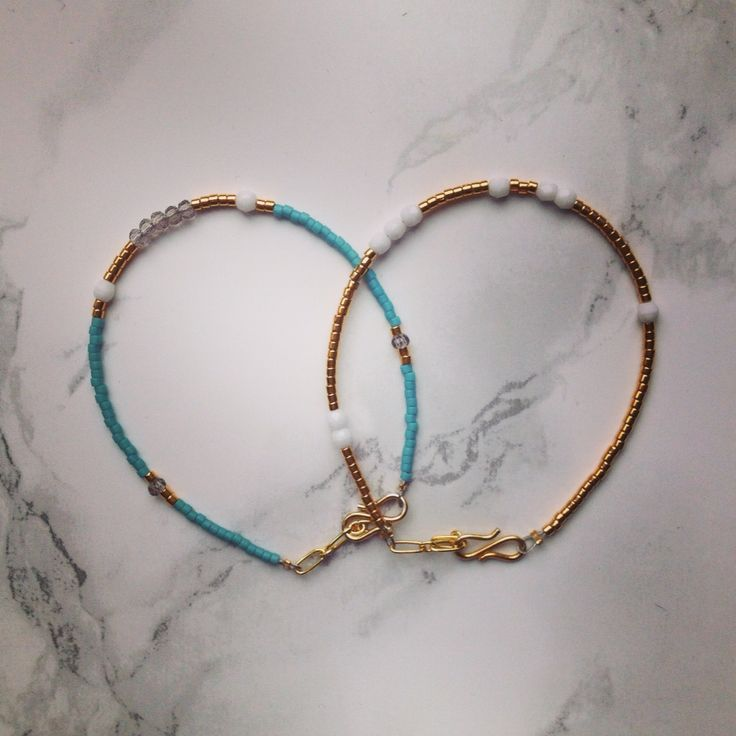 Gold and turquise bracelets made to order from instagram.com/interiorlovin
