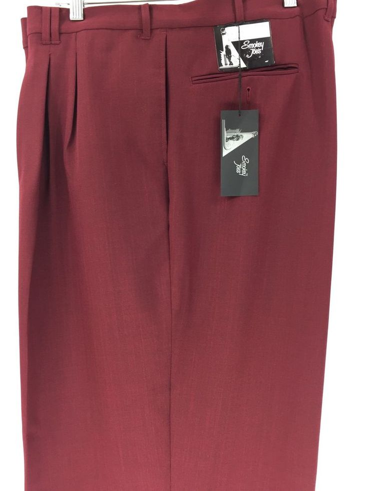 Smokey Joe's Men's Burgundy Dress Pants 2 Pleats Cuffed Hem Baggy Size 56XL x 32 #SmokeyJoes #DressPleat