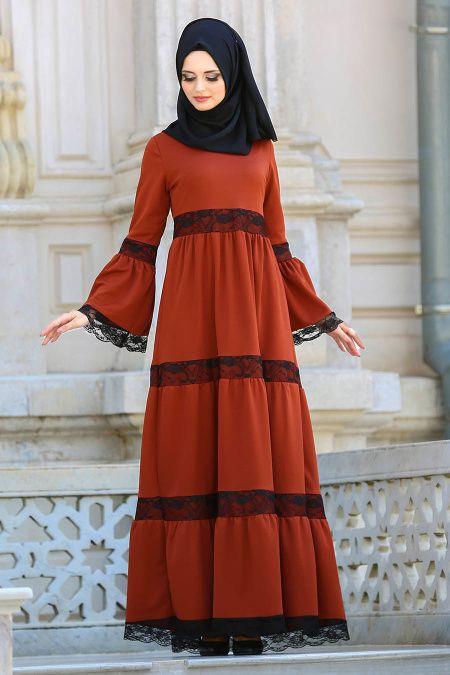 2018/2019 Yeni Sezon Günlük Elbise Koleksiyonu - Neva Style - Dantel Detaylı Kiremit Tesettür Elbise 41760KRMT