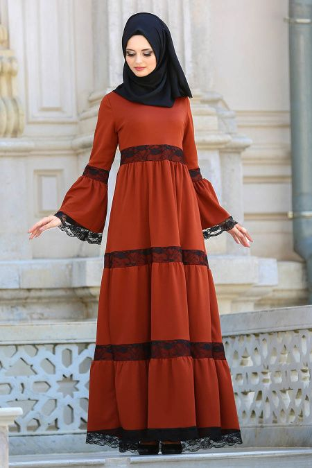 aa8037a30d491 2018/2019 New Season Daily Dress Collection – Neva Style – Lace Detailed  Tile Hijab Dress 41760KRMT