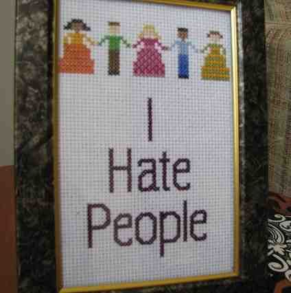: Funny Cross Stitches, Crossstitch, I Hate People, Funnies, Crosses, Embroidery, Crafts