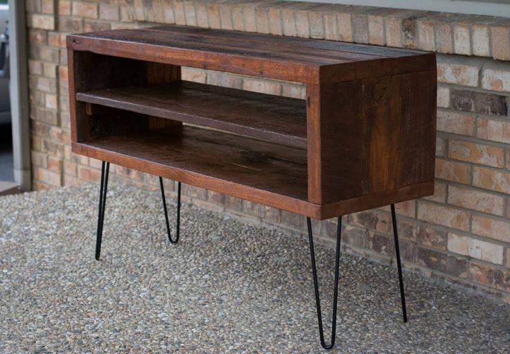 """Rustic TV Stand W/ Reclaimed Barn Wood & Shelf- Solid Oak W/ 8"""" Hairpin Legs by BeRusticCo on Etsy https://www.etsy.com/listing/222128693/rustic-tv-stand-w-reclaimed-barn-wood"""