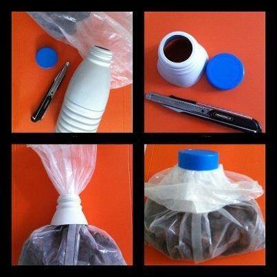 Fermer un sac plastique avec une bouteille de lait et un bouchon.