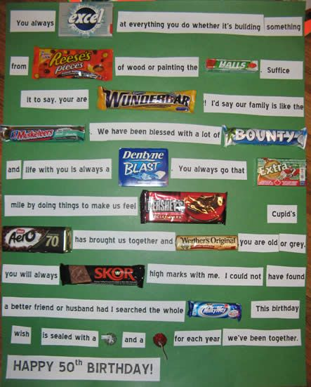 chocolate candy bar card for husbands 50th birthday To do: our story from amitabh n shahrukh movie names n songs. Super cool idea!