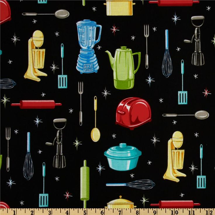 Kitchen Utensils Black from @fabricdotcom  From Fabric Traditions, this cotton print fabric is perfect for quilts, home décor accents, craft projects and apparel.  Colors include yellow, green, red, grey, turquoise, light blue and black.