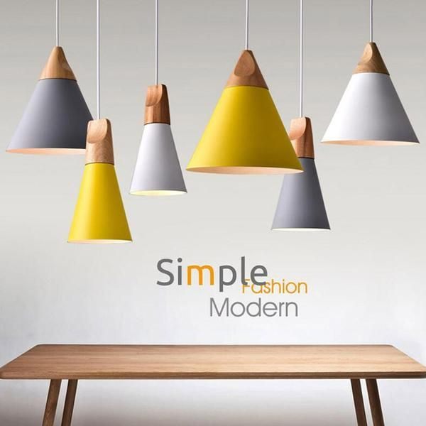 Nordic Combined Bar Real Wood Pendant Lights Multicolor Aluminum Lamp Raypom In 2020 Wood Pendant Light Modern Wood Pendant Light Hanging Ceiling Lamps