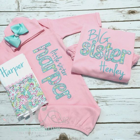 Big Little Sister Sibling Shirt Gown Set PINK - Big Sister Shirt - Newborn Coming Home Outfit - Baby Girl Gift - Photo Prop