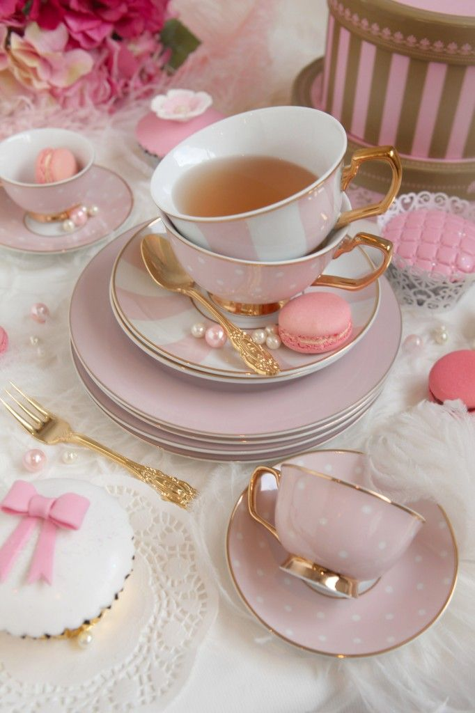 Pretty pink stripe and polka dot porcelain teacups with 24ct gold trim from Cristina Re --nice.