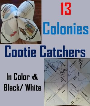 13 Colonies Activity: These 13 colonies cootie catchers are a great way for students to have fun while learning about the original 13 colonies. How to Play and Assembly Instructions are included. These Cootie Catchers contain the following: 1. Students identify the colony from the description:: Connecticut, Delaware, Georgia, Maryland, Massachusetts, New Hampshire,