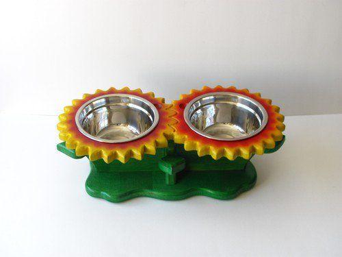 red u0026 yellow sunflowers flower shape feeder dog bowl stand cat bowl holder elevated dog dish raised pet feeder twothree bowls