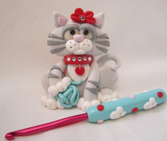 Cat Crochet Hook Holder Polymer Clay Crochet Hook by StarkyArt