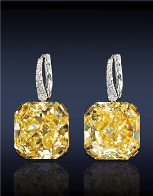 Jacob & Co. - Fine Jewelry - Riviera Collection - Fancy Intense Yellow Drop Diamond Earrings, Composed Of Two GIA Certified 19.20 - 19.13 Ct. Internally Flawless, Fancy Intense Yellow Radiant Cut Diamonds With Pave' Set White Diamonds On Bail, Mounted In Platinum And 18K Yellow Gold