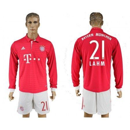 Bayern München 16-17 Philipp #Lahm 21 Hjemmebanetrøje Lange ærmer,245,14KR,shirtshopservice@gmail.com
