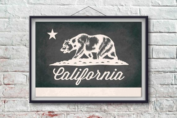 California Flag Print California Poster Flag Art by PixelPerfect12