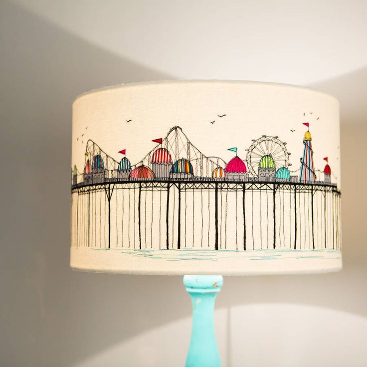 Embroidered 'Pier' Lampshade I wonder if you could draw something like this on a lamp shade with a sharpy.