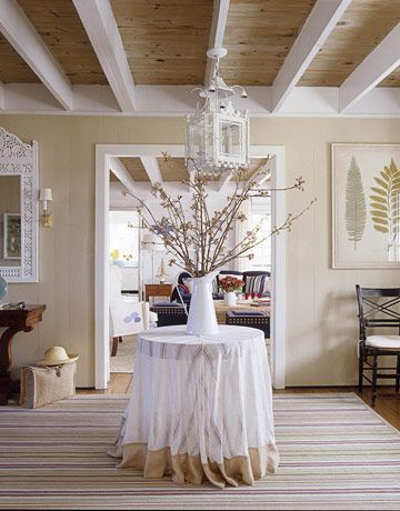 "Benjamin Moore Color...""shaker beige."" This is an entryway of an early 1900s house in Connecticut. Beautiful.Decor, Wall Colors, Dining Room, Living Room, Shakers Beige, Wood Ceilings, Moore Shakers, Painting Colors, Benjamin Moore"