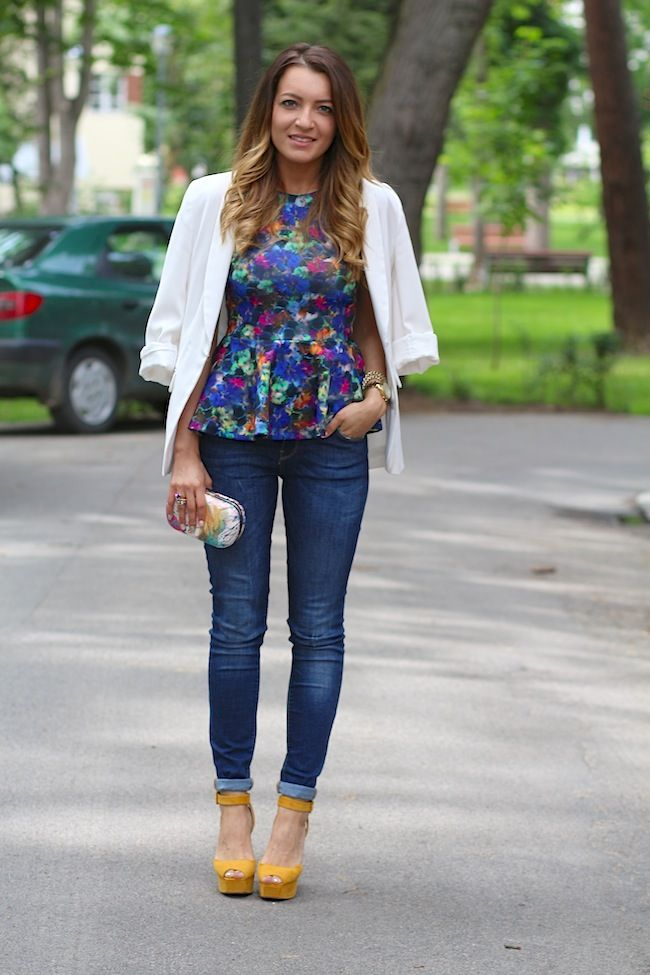 white blazer and peplum top  http://www.sandrab.ro