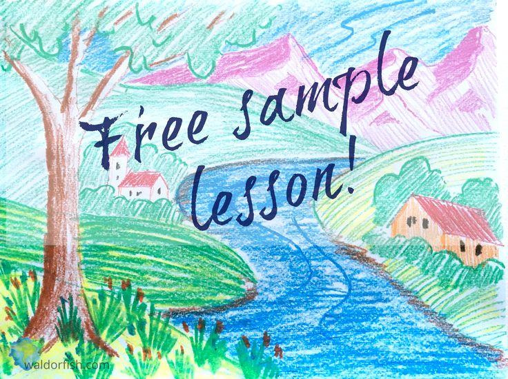 Waldorf crayon drawing   Crayon drawing lesson   Waldorf education   Waldorfish   Free sample lesson   Re-Pin and share!