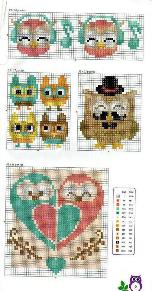 Cross stitch assortment of owls headphones mustaches I really like the pair on the bottom that create a heart St Valentine