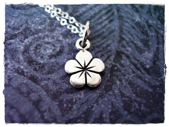 Tiny Petunia Flower Necklace  Sterling by EvelynMaeCreations, $20.00