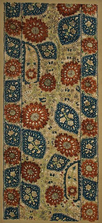 Ottoman Epirus Silk Embroidery – Turkey, 17th c, silk on cotton, sewn onto ground cloth and stretcher (43cm x 94cm).