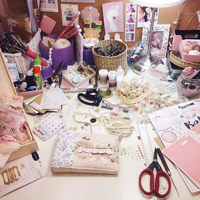 Scrapbooking Workplace Making a Scrap Album Mini Album For Baby Girl