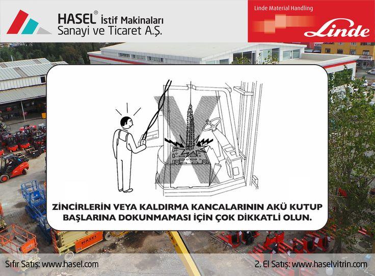 Önce İş Güvenliği!Zincirlerin veya kaldırma kancalarının akü kutup başlarına dokunmaması için çok dikkatli olun. www.hasel.com | www.haselvitrin.com