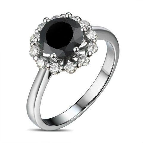 Zlatý prsten s černým diamantem a bílými diamanty Rill