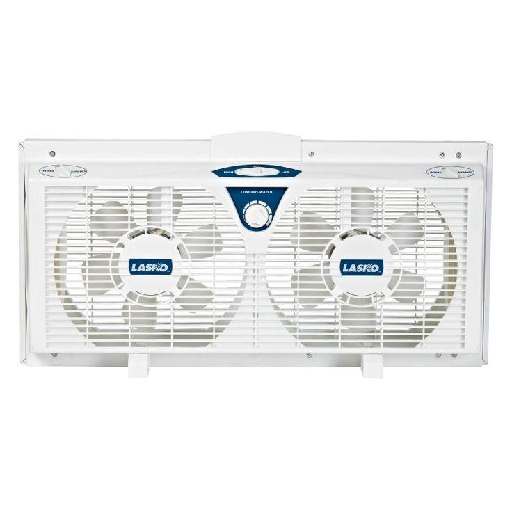 Lasko 2138 8 in. Electrically Reversible Twin Window Fan with Thermostat - 046013343307
