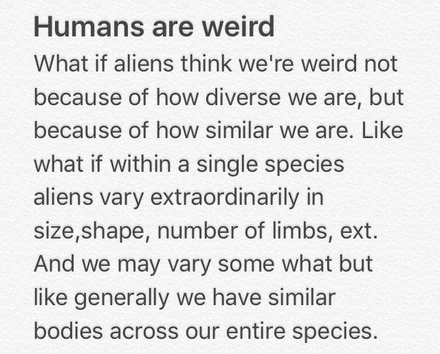 a short and simple Humans Are Weird.