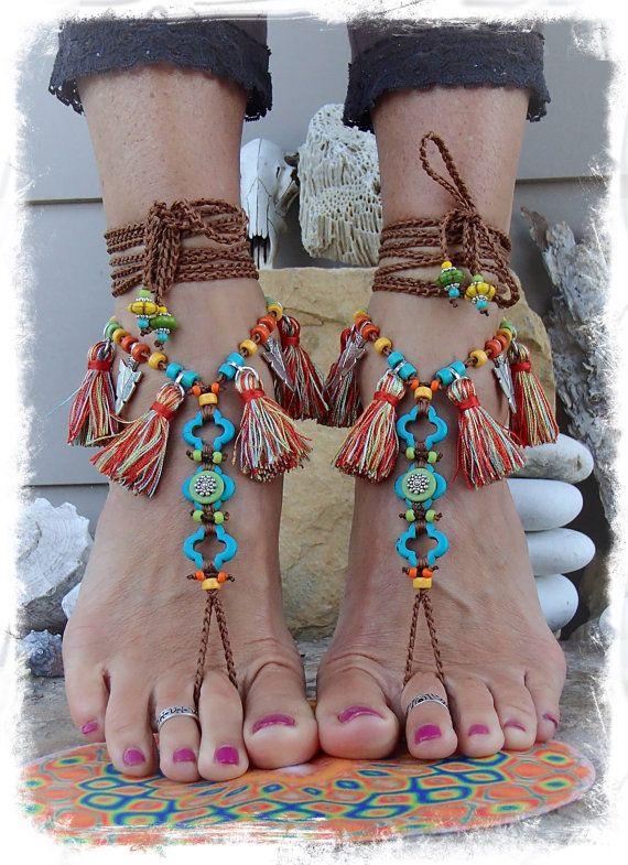 Pocahontas BAREFOOT Sandals Tribal kwast Fringe sandaal door GPyoga