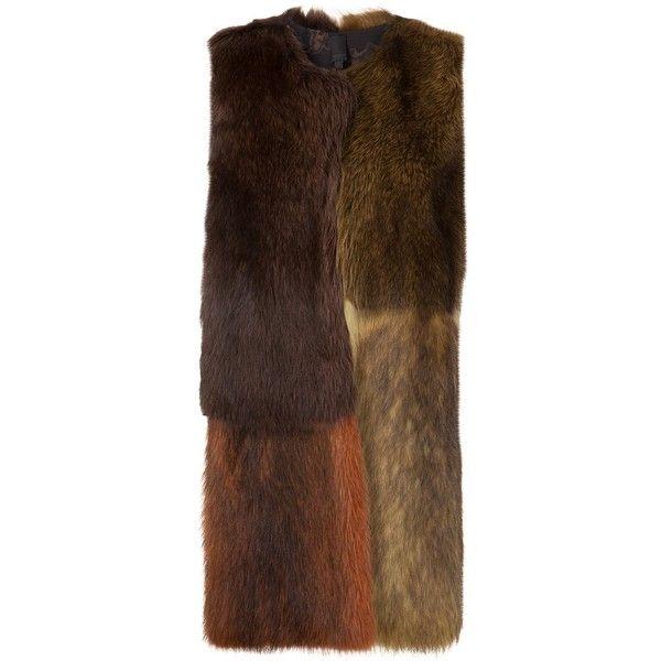 Vera Wang colour block fur vest ($7,900) via Polyvore featuring outerwear, vests, brown, color block vest, brown fur vest, vera wang, vest waistcoat and brown waistcoat