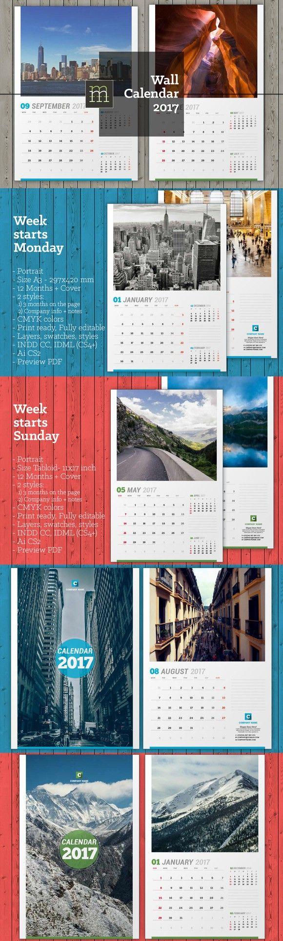 Wall Calendar 2017 (WC15). Stationery Templates. $9.00