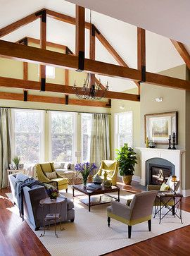 High Ceilings With Beams Design Ideas Pictures Remodel And Decor Modern Fireplace