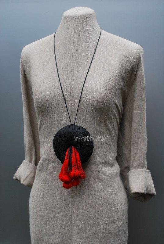 Extraordinary hand felted necklace wearable by sassafrasdesignl
