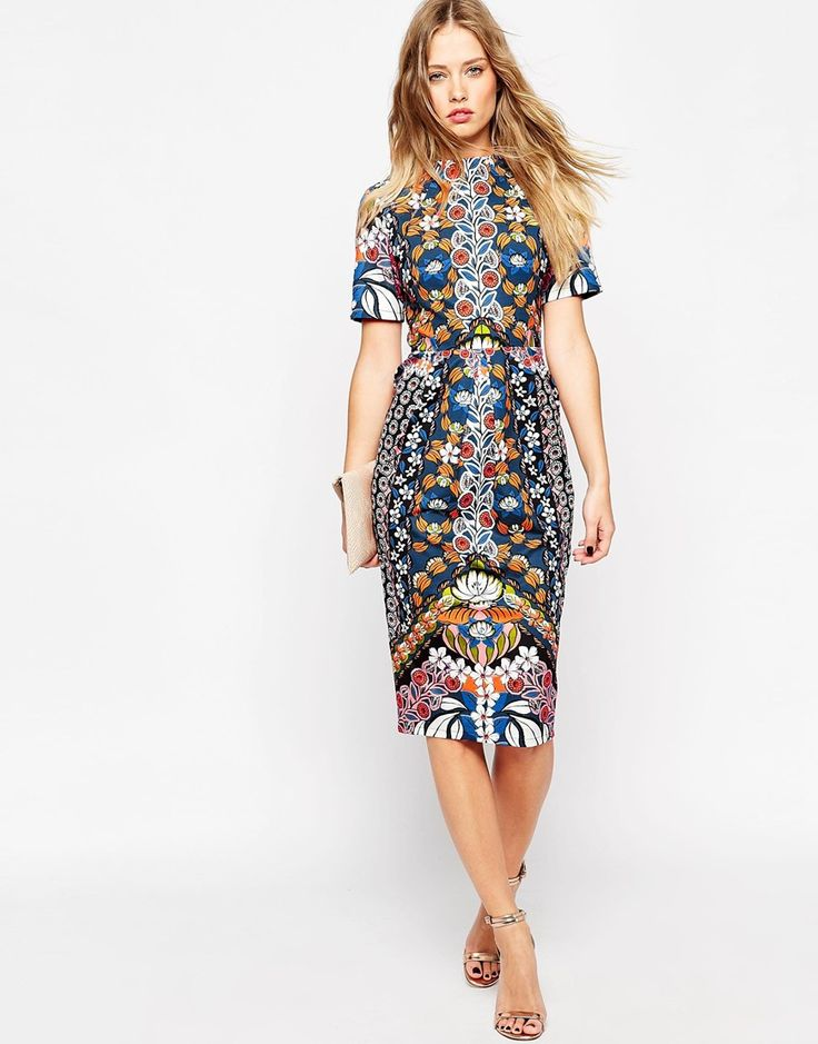 Image 4 of ASOS Wiggle Dress in Bright Border Print