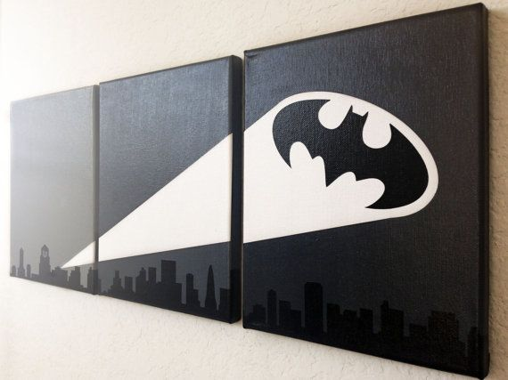 Bat Signal Ombre Canvas Art por adapperduck en Etsy