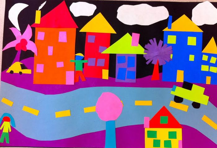 Love those colors! Cut paper collage - combine with 2-D shape unit in math