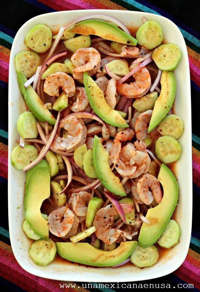 Cómo preparar Camarones en aguachile rojo. Un platillo perfecto para la cuaresma. By www.unamexicanaenusa.com