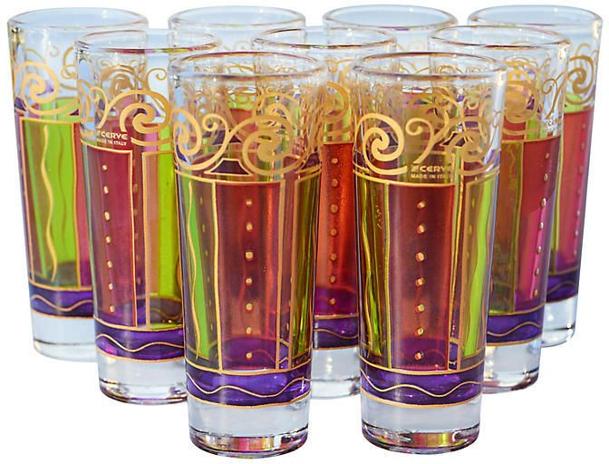 Vintage Italian Shot Glasses Set of nine midcentury #shotglasses hand-painted with gold motif and festive color combination. Makes a unique gift! Made in Italy $295 #ad http://shopstyle.it/l/k3aJ  | vintage shot glasses