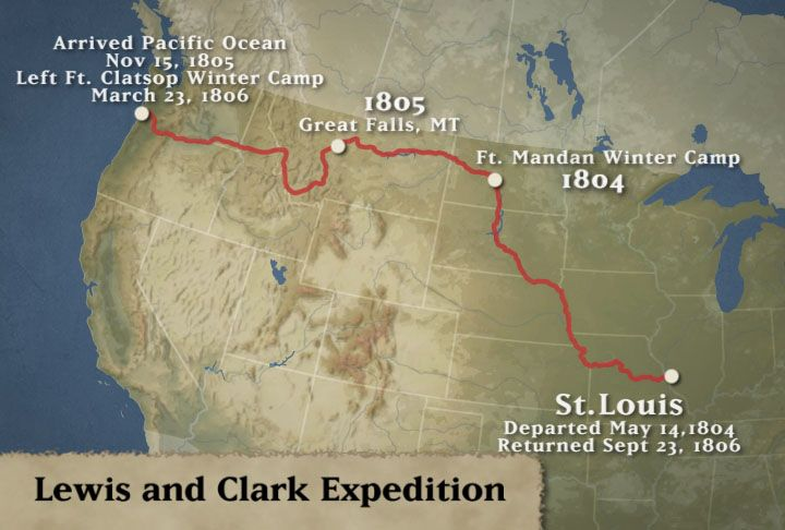 lewis and clark expedition route  Lewis and Clark Expedition Map