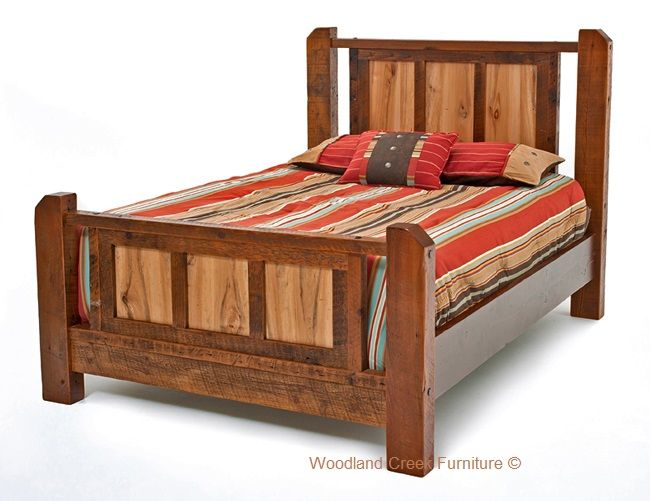Barnwood Panel Bed with Spalted Wood Panels by Woodland Creek
