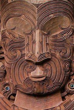 Te Mata o Tāne-nui-ā-rangi carved by Lyonel Grant, Bernard Makoare and Manos Nathan 2011. The face of Tāne-nui-ā-rangi.