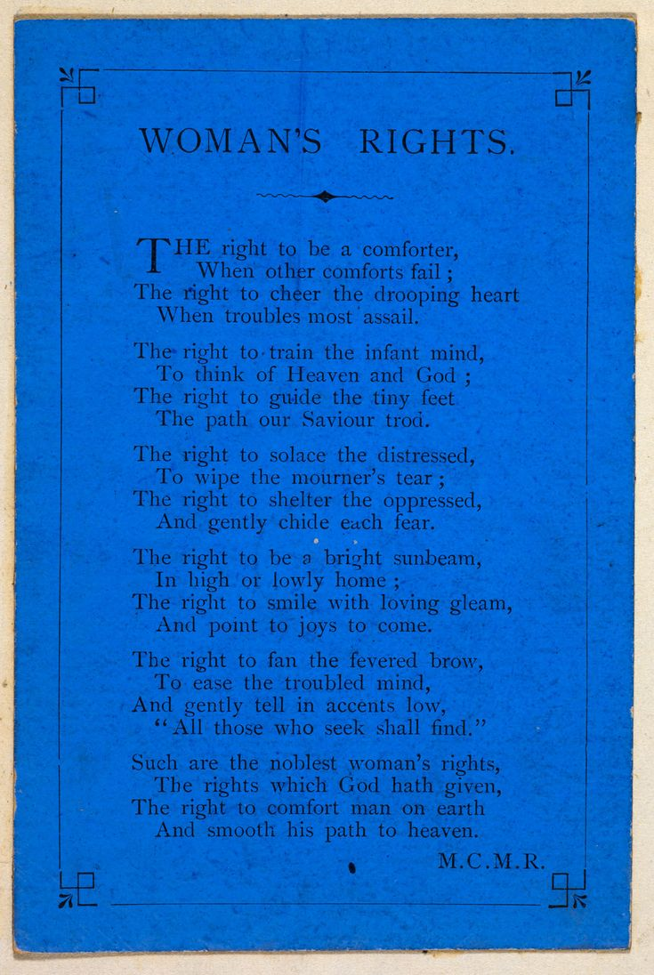 rights of woman Burns wrote 'the rights of women' for miss louisa fontenelle, a london actress who is known to have performed in both edinburgh and dumfries burns was.