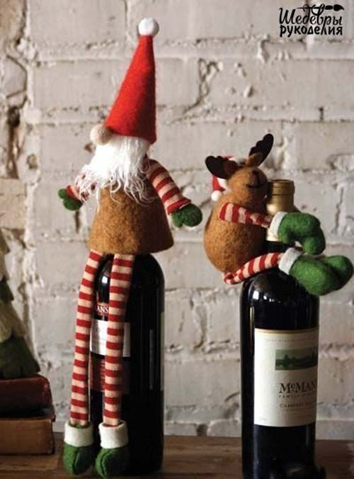 ideas de botellas de vino decoradas para regalar en navidad 01