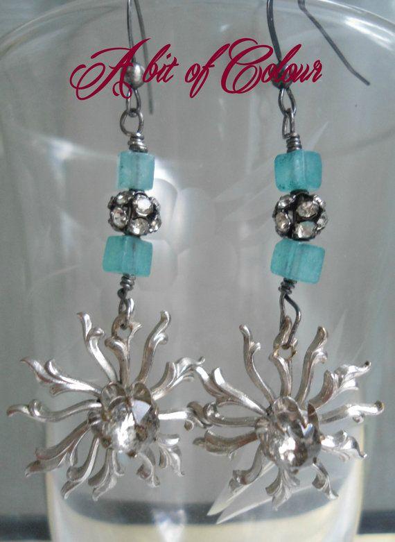 Snowflake! Vintage Rhinestone , Re-Purposed , Women Dangle Earrings, Sterling Silver, Apatite,