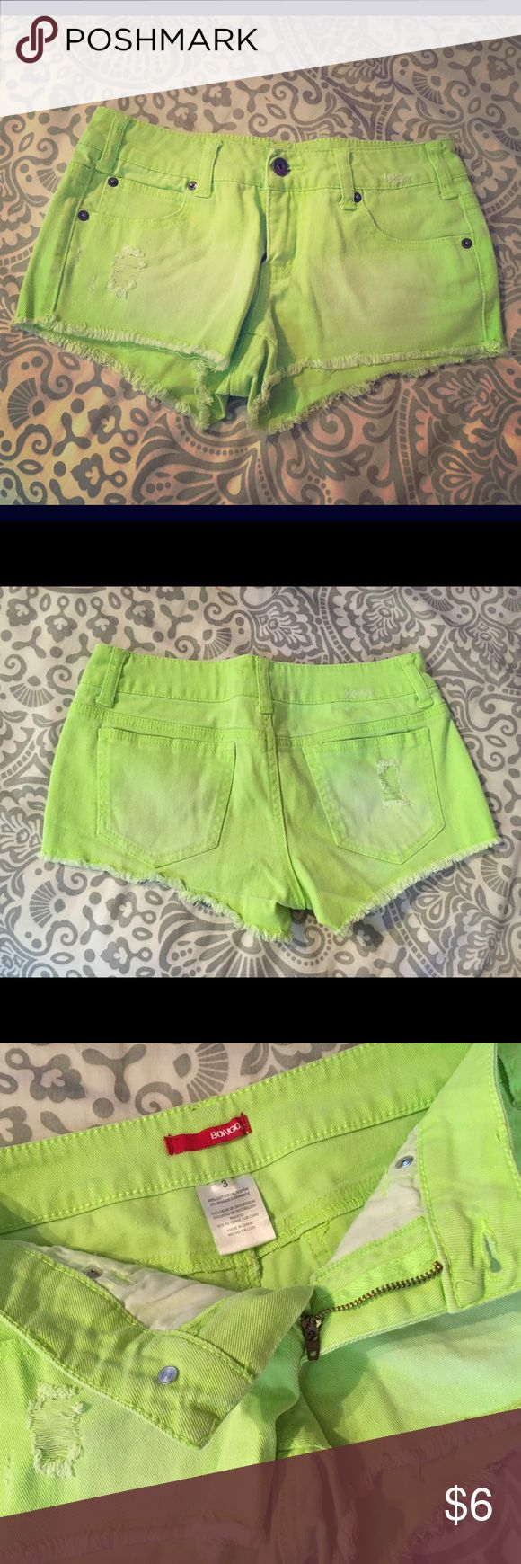 Slightly distressed neon green jean shorts, size 3 Neon green shorts with small distressing. Size 3, runs true to size. Only worn once. BONGO Shorts Jean Shorts